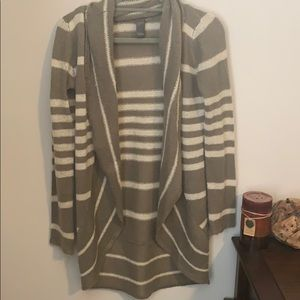 Olive Striped High-Low Cardigan